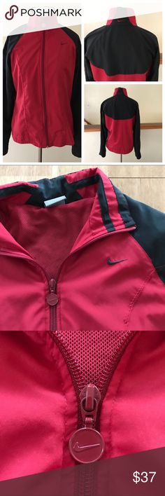 Nike Red and Black Zip Up Jacket Size Medium ⚜️I love receiving offers through the offer button!⚜️ Good condition, as seen in pictures! Fast same or next day shipping!📨 Open to offers but I don't negotiate in the comments so please use the offer button😊 Check out the rest of my closet for more Adidas, Lululemon, Tory Burch, Urban Outfitters, Free People, Anthropologie, Victoria's Secret, Sam Edelman, Topshop, Asos, Revolve, Brandy Melville, Zara, and American Apparel! Nike Jackets & Coats