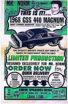 Norm – One on One - Behind the Big Block Darts American muscle cars Old Advertisements, Car Advertising, Dodge Muscle Cars, High Performance Cars, Us Cars, Drag Cars, American Muscle Cars, Vintage Ads, Mopar