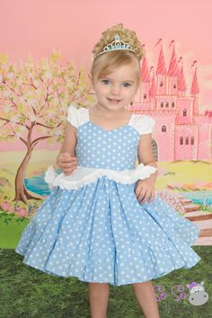Everyday is the perfect day to be a princess! Thats why I have created this darling washable wearable scrumptious cotton Cinderella dress. Perfect for the busiest princesses and moms. No more arguments over whether she can wear it out of the house-it Girls Belle Dress, Cinderella Dress For Girls, Little Girl Dresses, Girls Dresses, Flower Girl Dresses, Cinderella Play, Kids Frocks, Girl Dress Patterns, Blue Wedding Dresses