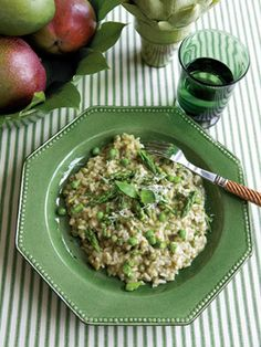 risotto with green peas, shallots and asparagus ; recipe on Veranda.com