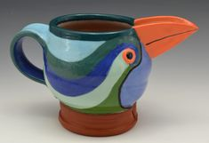 Swirly Blue and Green Jugbird. Earthenware, Stoneware, Mugs, Tableware, Green, Blue, Dinnerware, Tumblers, Tablewares