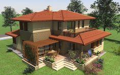 Emeletes családi ház 227 m2 | Családiházam.hu House Front Design, Modern House Design, Compound House, Kerala House Design, Kerala Houses, Modern Farmhouse Exterior, Mansions Homes, House Extensions, Design Case