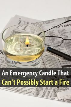 Safer Emergency Candles can't start a fire since they were designed for use in a glass of water. If left unattended or knocked over, it goes out. Urban Survival, Survival Prepping, Emergency Preparedness, Survival Gear, Survival Skills, Outdoor Survival, Emergency Candles, Paraffin Candles, Survival Equipment