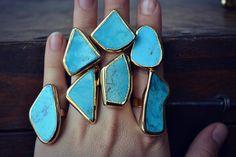 Lux Divine /// Turquoise Electroformed Gemstone Rings por luxdivine