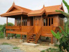 Bloggang.com : ป้าบุ๋มบิ๋ม - บ้านทรงไทย .....สร้างภายใน 45 วัน Dream House Plans, My Dream Home, Dream House Pictures, Filipino House, Bungalow, Small Cottage Homes, Thai House, Bamboo House, Simple House Design