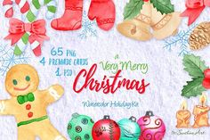 Very Merry Christmas Watercolor Kit by Sunshine Art Shop on @creativemarket