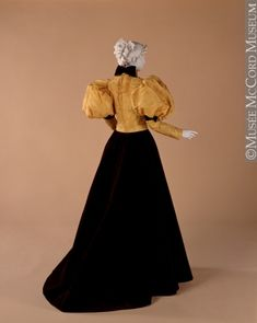 1890s extant gown, melon sleeves, gold bodice w/ black or brown velvet skirt- from McCord Museum