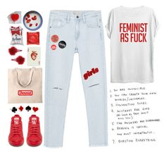 """Feminist Soul"" by sazyc ❤ liked on Polyvore featuring TOP-TEE, Zara, LIST, Topshop, white, red, feminist and slogantshirts"