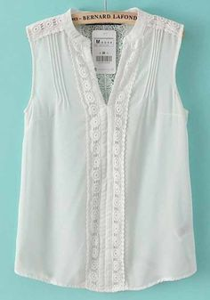 White Patchwork Lace Hollow-out Sleeveless Chiffon Blouse