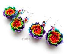 Rainbow Roses Earrings Rainbow Roses, Rose Earrings, Jewelry, Jewlery, Bijoux, Schmuck, Jewerly, Jewels, Jewelery
