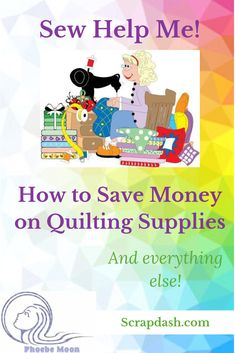 Sewing Tips And Tricks Sew Help Me: Saving Money on Quilting Supplies Hobbies For Couples, Hobbies For Kids, Quilting Blogs, Quilting Projects, Sewing Projects, Ways To Save Money, Money Saving Tips, Hobby Supplies, Hobby Photography