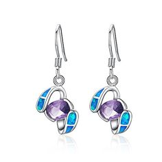 Sinlifu Simulated Opal Blue & Amethyst Purple Topaz Sterling Silver Women Dangle Earring (Blue). Gem Stone Type: Beautiful Amethyst & White Australian Opal. AAAAA quality opal,nickel and lead free. Brand new as the photo show. Nobody can hide the exciting when get this for present. Rhodium Plated, Promising a Long Lasting Shine, as well as a Beautiful Finish.