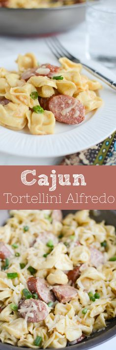 Delicious and fast Cajun Tortellini Alfredo recipe - tortellini and smoked sausage in a delicious creamy alfredo sauce! Sausage Recipes, Pasta Recipes, Dinner Recipes, Cooking Recipes, Healthy Recipes, Cheese Tortellini Recipes, Quick Recipes, Dinner Ideas, Healthy Snacks