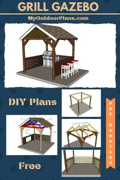by step instructions for you to build a grill gazebo. The tutorial comes with detailed diagrams, instructions, a materials list and a cut list. The plans are Print friendly and can be saved as a PDF file. Grill Gazebo, Backyard Gazebo, Patio Roof, Outdoor Gazebos, Pergola Garden, Pergola Roof, Metal Pergola, Wooden Pergola, Garden Trellis