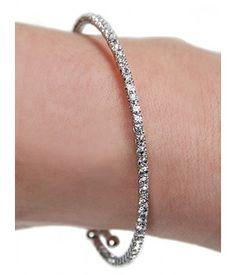 Mini Rhinestone Wrap Bracelet (Silver)