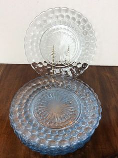 8 ANCHOR HOCKING SAPPHIRE Blue Bubble DEPRESSION GLASS Dinner PLATES