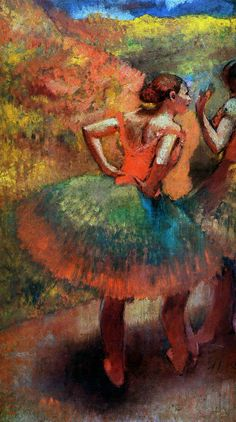 worldpaintings:      Edgar Degas      Two Dancers in Green Skirts, Landscape Scener, c.1894 - 1899, oil on canvas, private collection.
