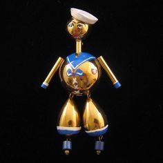 Puffed Sailor Pin w/ Dangling Legs (1940's)