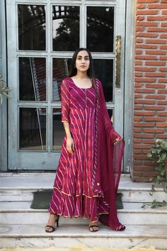 Rangpur Chiffon Anarkali with Dupatta in Wine Anarkali Dress, Pakistani Dresses, Indian Dresses, Indian Outfits, Chiffon Saree, Dress Neck Designs, Blouse Designs, Bandhani Dress, Indian Tunic Tops
