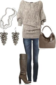 LOVE THIS! I would prefer a comfy stylish flat or low heel boot. Funky silver jewelry. Actually have that bag.