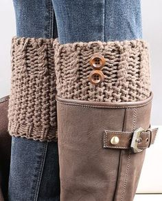 Cute Gift Idea! Love these! Pair of Chic Button Embellished Crochet Knitted Boot Cuffs #Boot #Cuffs #Xmas #Gift #Ideas