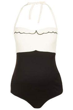 Maternity Scallop Swimsuit - Maternity Swimwear - Maternity - Clothing