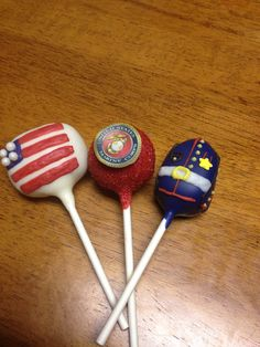 Marine Corps Cake Pops by thepopcakery1 on Etsy