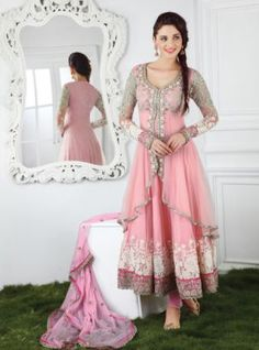 Soft Pink Jacket Style Long Anarkali Salwar Kameez