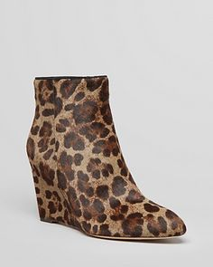 B Brian Atwood Pointed Toe Wedge Booties