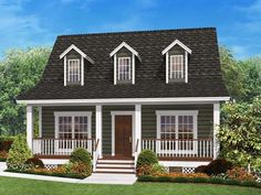 picture of house with porch across front and white railing | small-ranch-style-house-plans-with-front-porch-designs