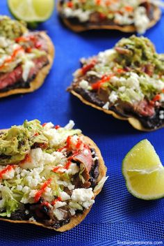 Flank Steak Tostadas – a quick and easy weeknight meal featuring grilled flank steak, black beans and queso fresco.