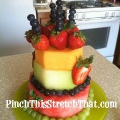Awesome Picture of Birthday Cake Made Of Fruit . Birthday Cake Made Of Fruit A Healthier Cake Birthday Fruit Cake Cakes To Make, How To Make Cake, Cake Made Of Fruit, Fresh Fruit Cake, Fruit Birthday Cake, Birthday Desserts, Diy Birthday, Summer Birthday, Fruit Recipes