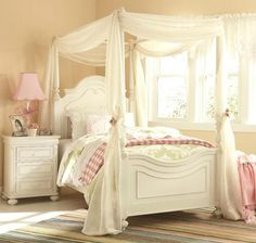 Amber Twin Canopy Bed - Antique White | Pinterest | Twin canopy bed ...
