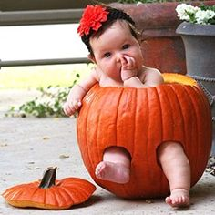 These pumpkins are so big, even a baby can fit inside - and they sure look cute doing it too! Bouncy, blushing babies giggle, sleep, and look adorably confused sitting in these hollowed out Halloween pumpkins. These pictures are sure to bring a giant smile to your face, so check them out and a