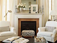 cozy living room - Fireplace Decoration   nice design with ideas for my chair placement with windows...