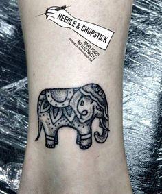 Hand poked elephant tattoo by Sarah lu aka needle and chopstick!