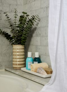 Bathroom Makeover Tips - Eucalyptus in the shower - pretty brilliant Beach Bathrooms, Small Bathroom, Funny Bathroom, Eucalyptus Shower, Art Deco Bathroom, Elegant Curtains, Makeover Tips, Bathroom Vanity Cabinets, Best Bath