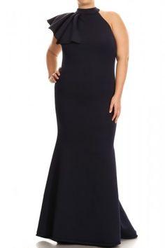 1746b8340e Plus Size Sleeveless Scuba Knit Mermaid Style Dress In Navy