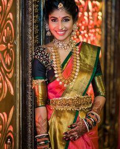 Latest 40 Classic Bridal Pattu Sarees For Your Wedding Day Pattu Saree Blouse Designs, Half Saree Designs, Bridal Blouse Designs, Indian Bridal Fashion, Indian Wedding Jewelry, Bridal Jewelry, Gold Jewelry, Indian Jewelry, South Indian Bridal Jewellery