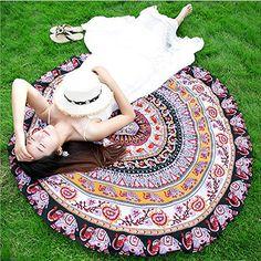 Serviette de Plage Tapisserie Ronde Tapestry Impression Hippie Mandala Yoga Mat Meditation Sunroyal Bohème Maxi Robe Vacances Holiday Nappe…