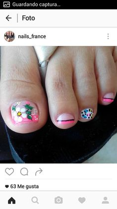 Uñas Cute Pedicure Designs, Toe Nail Designs, Nail Polish Designs, Pretty Pedicures, Pretty Nails, Toe Nail Art, Toe Nails, Mani Pedi, Manicure And Pedicure