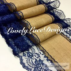 30ft Burlap Navy Lace Runner Wedding Table by LovelyLaceDesigns
