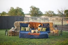 Hay bale couch and lounge area