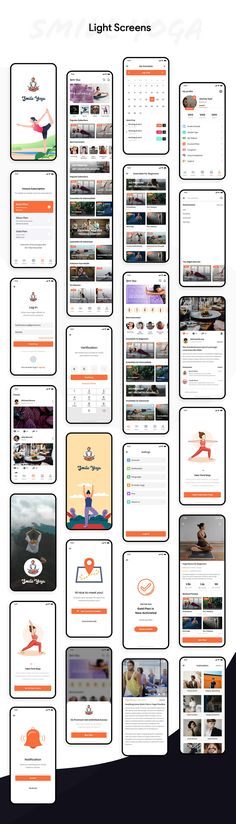 Smile Yoga UI Kit is the high quality premium pack, include 60 screens Dark & Light for your next Yoga Traning project. We continue to add new things to make our template more beautiful and strong every day. You will be free to use all our updates. This UI kit is ready to use for your next project!   App Ui Design, Mobile App Design, Ui Ux Design, Interface Design, User Interface, App Design Inspiration, Mobile App Ui, Ui Kit, Fitness App
