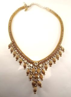Vintage  St. Labre goldtone with rhinestones necklace, beautiful, excellent, NR! #StLabre #necklace