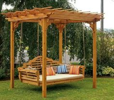 Cedar Pergola Swing Bed Stand on Picsity. I could use my existing swing and suspend it from the pergola! Cedar Pergola, Pergola Swing, Backyard Pergola, Backyard Ideas, Landscaping Ideas, Backyard Swings, Patio Ideas, Garden Swings, Backyard Storage