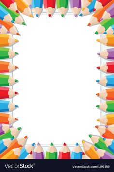 Color pencils frame vector image on VectorStock Frame Border Design, Boarder Designs, Page Borders Design, Disney Christmas Decorations, Boarders And Frames, Page Decoration, School Frame, Powerpoint Background Design, Kids Background
