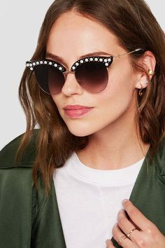 Gucci - Embellished Cat-eye Acetate And Gold-tone Sunglasses - Black Gucci Sunglasses, Sunglasses Accessories, Sunglasses Women, Maria Tash Earrings, Piercings, Cat Eye Glasses, Mens Glasses, Jimmy Choo, Necklaces