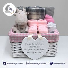 """Our baby girl gift basket comes with a white and grey checked fleece blanket, two large grey muslin squares, white hat and mitts set with grey star print and a pink velcro bib which are all hand-tied with ribbon. Also included are a pair of little pink bootees, a white and grey giraffe plush toy and a white wooden heart shaped keepsake plaque with the wording """"Twinkle, twinkle little star, do you know how loved you are?"""" Baby Girl Gift Baskets, Baby Gift Hampers, Baby Shower Gift Basket, Baby Gift Box, Cute Baby Gifts, Handmade Baby Gifts, Newborn Baby Gifts, Baby Girl Gifts, Baby Shower Gifts"""
