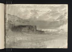 Joseph Mallord William Turner, 'Folkestone Pier in Stormy Weather' 1845 (Inside back cover of sketchbook)